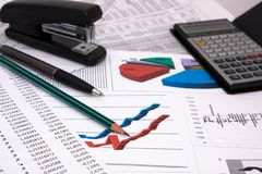 Business background. With diagrams and calculations Royalty Free Stock Images