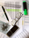 BUSINESS BACKGROUND. Paper document, pen, phone and clips Royalty Free Stock Photos