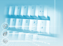 Business Background. A keyboard on blue background with post and the @ symbol Royalty Free Stock Photo