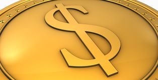 Business background. Money background with golden $ coin Stock Photos