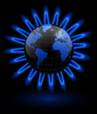 Business background. Earth and gas flames around, energy concept Royalty Free Stock Image