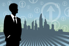 Business Background. An illustration of a man in a suit on a city background Royalty Free Stock Photo