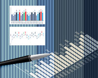 Business background. S graphs and stationary pen Stock Image