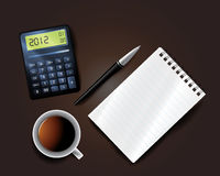 Business background. Including pen mobile notepad calculator and cup of coffee Stock Photos