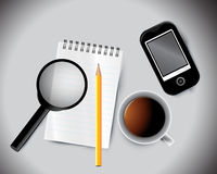 Business background. Including pencil mobile notepad and cup of tea Royalty Free Stock Photo