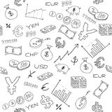 Business background. Seamless pattern with money, business and financial icon sand symbols. Business background doodle Stock Image