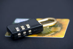Business background. Credit card and lock.Business background Royalty Free Stock Images