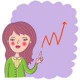 Business background. Cartoon girl with a graph Stock Photography