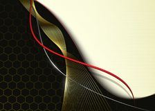 Business background, abstract 3d waves. Black and gold vector illustration Stock Photo