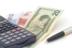 Business background with banknotes, calculator Royalty Free Stock Image
