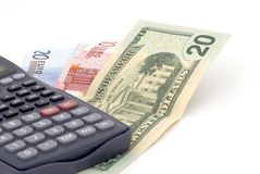 Business background with banknotes and calculator Stock Images