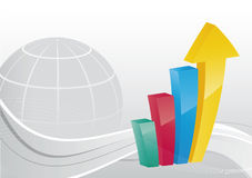 Business background - Bar chart. / graph with globe Stock Image