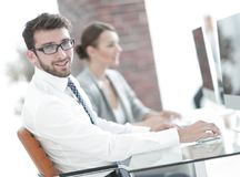 Businessman on blurred background office Royalty Free Stock Photography