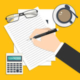 Business background. Businessman's hand writing his report or resume. Flat style business background with icons for your design Stock Photography