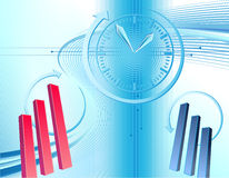 Business background with clock. Abstract business background with clock and charts Royalty Free Stock Photo
