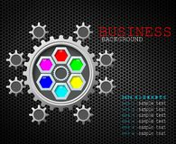 Business background concept color gears with data element Royalty Free Stock Photography