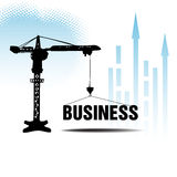 Business background with crane. Abstract colorful business illustration with a crane lifting the business word. Business concept Stock Photography