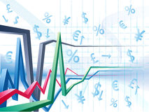 Business background with the currency signs. The currency signs and business chart is in the abstract background Royalty Free Stock Photo