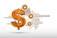 Business Background with Dollar. Illustration of abstract business background with dollar sign and cog wheel Royalty Free Stock Image