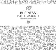 Business background doodles hand drawn black and white. Stock Photo