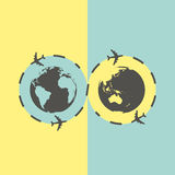 Business background with earth globe and airplane Stock Photography