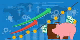 Business background financial money growth. Vector business background financial money growth. Web or ad horizontal banner. Concept analytics, earnings growth Stock Photography