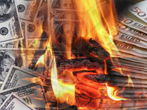 Business background. In the form of a burning dollar and euro Royalty Free Stock Photography