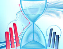 Business background with hourglass. Abstract business background with clock and charts Stock Image