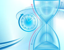 Business background with hourglass. Abstract business vector background with clock and hourglass Royalty Free Stock Photos