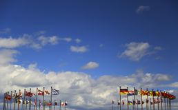 Business background of international flags Royalty Free Stock Photography