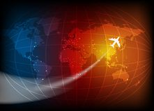 Business background with map. Of the world and airplane Royalty Free Illustration