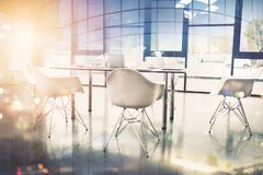 Business background of a with meeting room. double exposure. Business background of a meeting room. double exposure effect royalty free stock photography