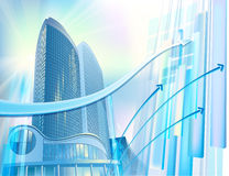 Business background with modern city buildings Stock Images