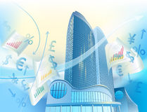 Business background with modern city buildings. A modern sky-scrapers is in the abstract cityscape and currency signs Stock Image
