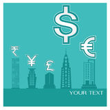 Business background money building Dollar European Euro Jap Royalty Free Stock Images