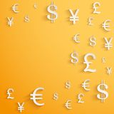 Business background with money Currency symbols Royalty Free Stock Photography