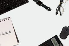Business 3D  background with mouse, glass, watch, keybord, calculator, notepad and space place. Stock Image