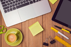 Business background with note paper and laptop on office table. stock photography