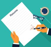 Business background with resume, vector Stock Images