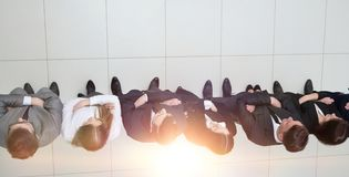 View from the top.business team standing in a row Royalty Free Stock Image