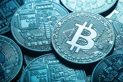 Business background from virtual bitcoin currency Royalty Free Stock Photos