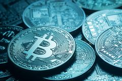 Business background from virtual world currency bitcoin. Toning. The concept of virtual money and crypto currency Stock Photos