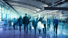 Business background with walking people blur silhouettes. London Royalty Free Stock Images