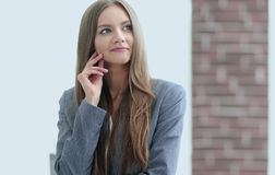 Successful business woman on blurred background office. Business background. business woman on blurred background Royalty Free Stock Photo