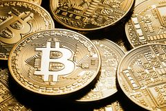 Business background from the world currency bitcoin. The concept of virtual business and crypto-currencies Royalty Free Stock Photos