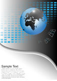 Business background with world globe. Grey and blue Stock Photos