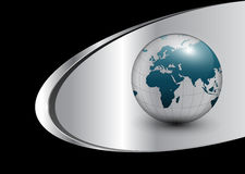 Business background with world globe. Silver, black Royalty Free Stock Images