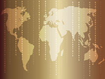 Business background with world map and many numbers. Gold Stock Images