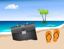Business bag on the beach Stock Photo