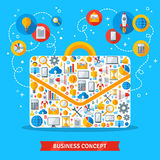 Business bag with flat icons inside. Vector illustration. Creative banner, startup concept. Abstract managers briefcase Royalty Free Stock Photo